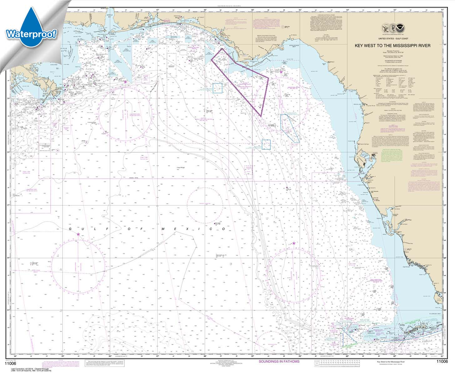 Waterproof NOAA Charts, Waterproof NOAA Chart 11006: Key West to Mississippi River