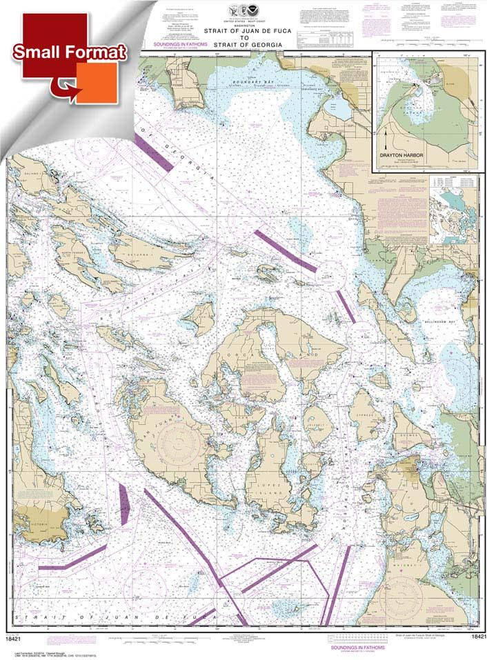 Small Format NOAA Charts, Small Format NOAA Chart 18421: Strait of Juan de Fuca to Strait of Georgia;Drayton Harbor
