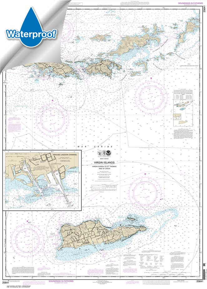 Waterproof NOAA Charts, Waterproof NOAA Chart 25641: Virgin Islands-Virgin Gorda to St. Thomas and St. Croix;Krause Lagoon Channel