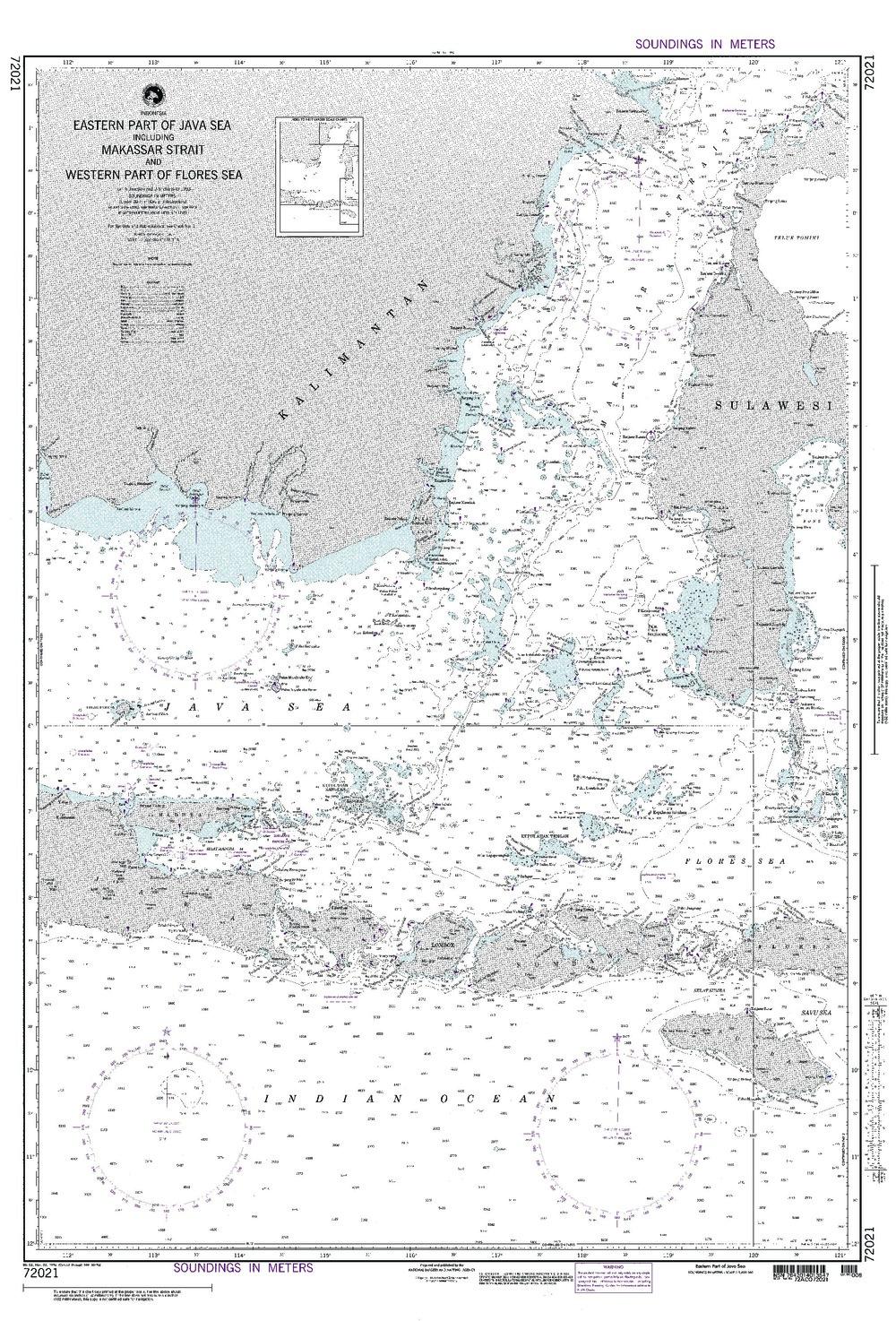 NGA Charts: Region 7 - South East Asia, Indonesia, New Guinea, Australia, NGA Chart 72021: Java Sea (Eastern Part) Incl Makassar