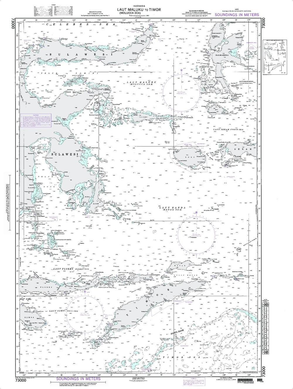 NGA Charts: Region 7 - South East Asia, Indonesia, New Guinea, Australia, NGA Chart 73000: Laut Maluku (Molucca Sea) to Timor