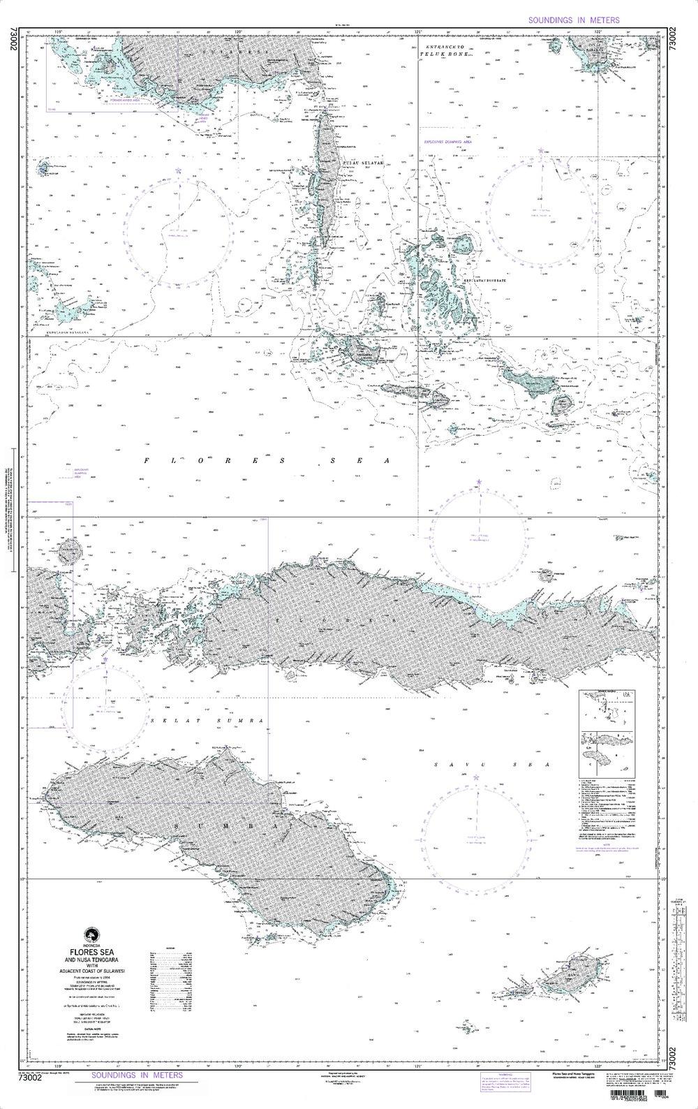 NGA Charts: Region 7 - South East Asia, Indonesia, New Guinea, Australia, NGA Chart 73002: Flores Sea [and Nusa Tenggara] Indonesia