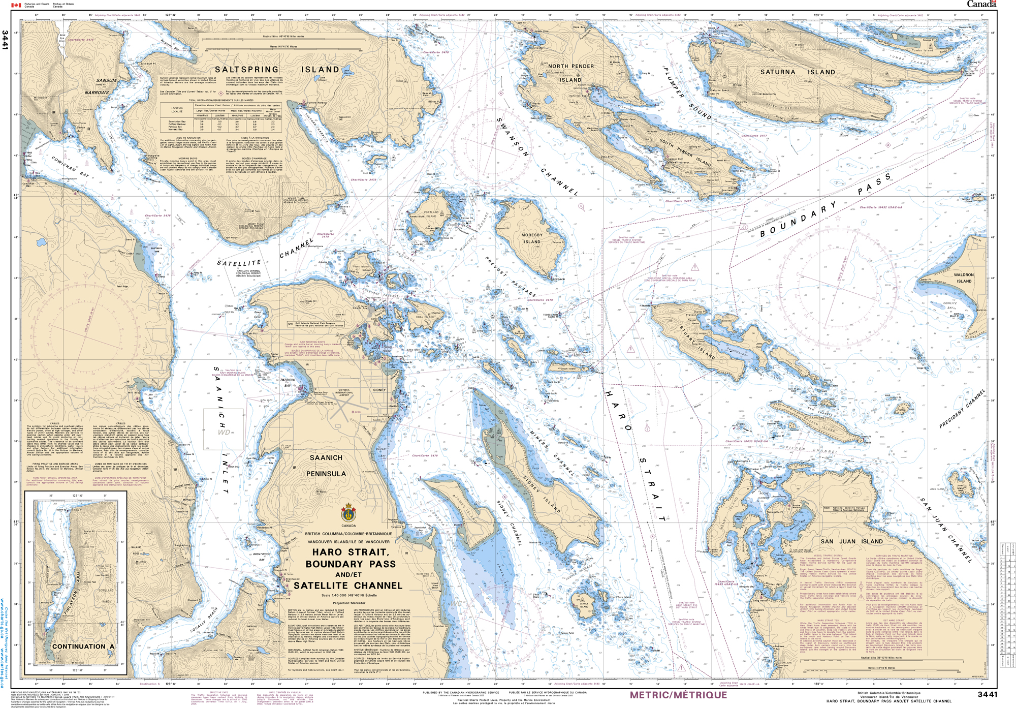 Pacific Region, CHS Chart 3441: Haro Strait, Boundary Pass and/et Satellite Channel