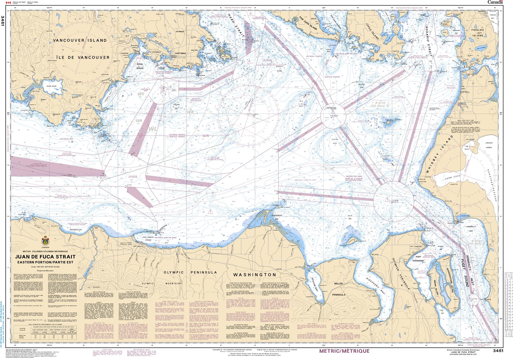 Pacific Region, CHS Chart 3461: Juan de Fuca Strait, Eastern Portion/Partie Est