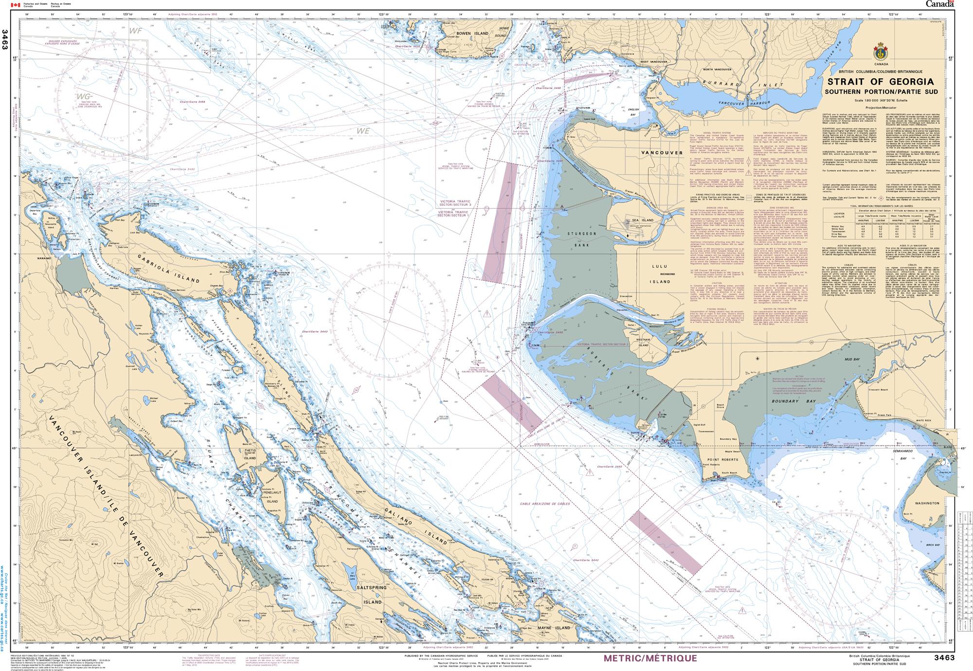 Pacific Region, CHS Chart 3463: Strait of Georgia, Southern Portion/Partie Sud