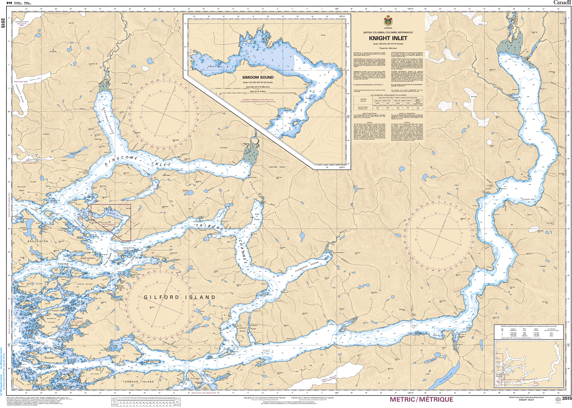 Pacific Region, CHS Chart 3515: Knight Inlet