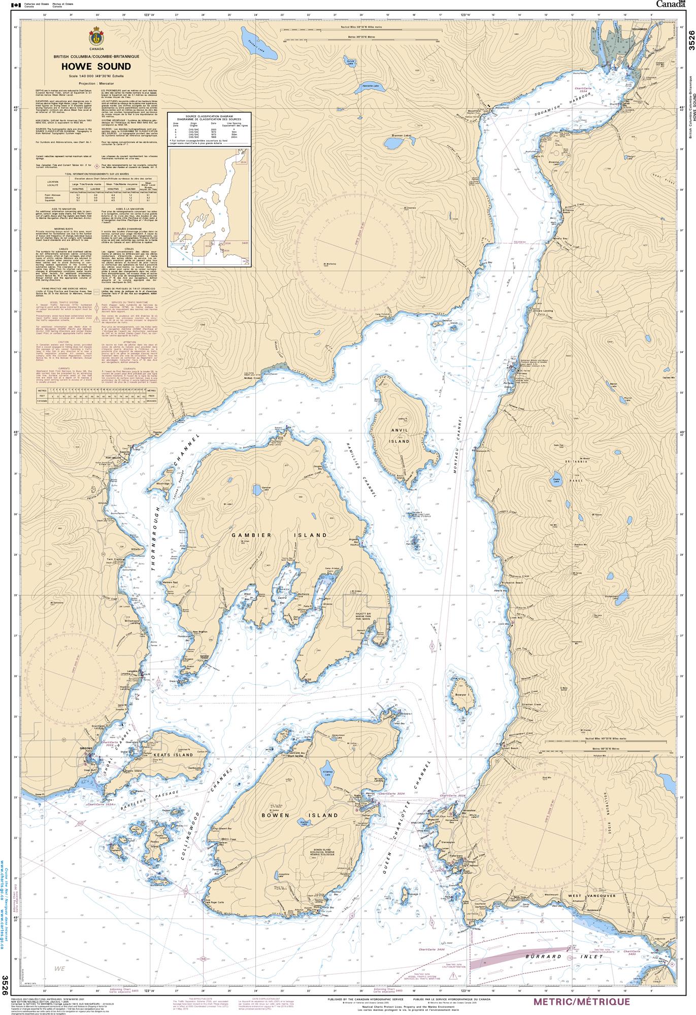 Pacific Region, CHS Chart 3526: Howe Sound