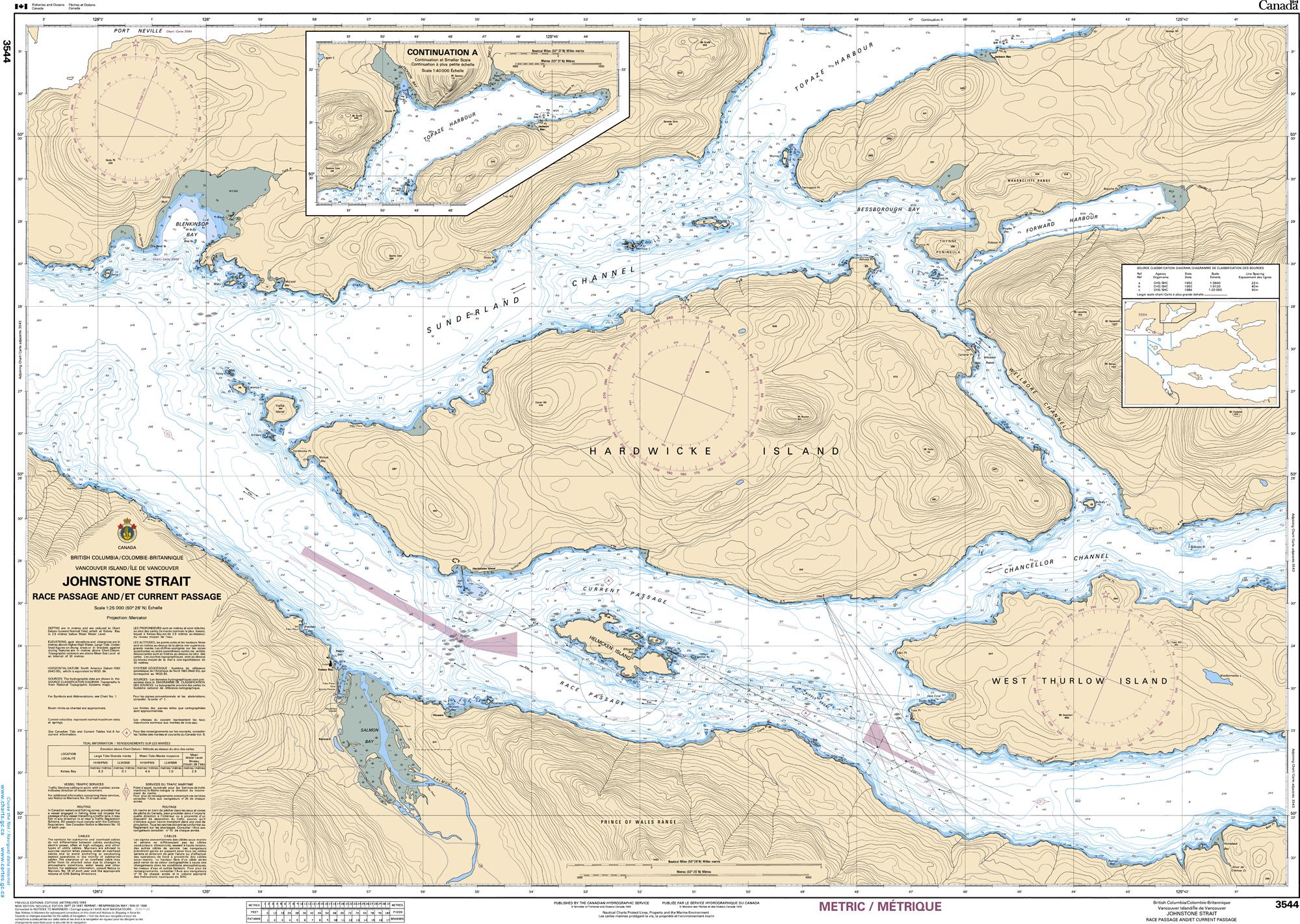 Pacific Region, CHS Chart 3544: Johnstone Strait, Race Passage and/et Current Passage