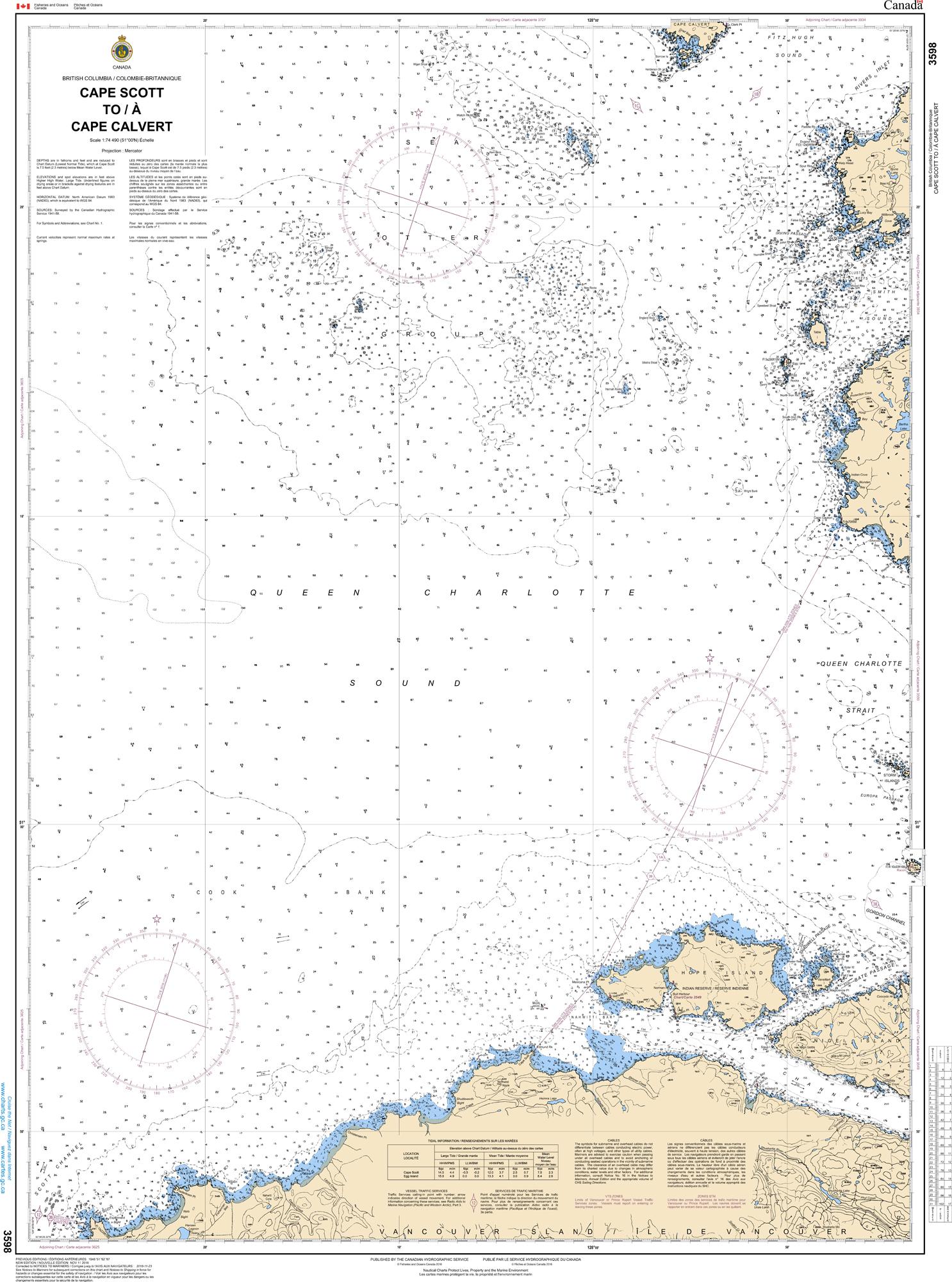 Pacific Region, CHS Chart 3598: Cape Scott to Cape Calvert