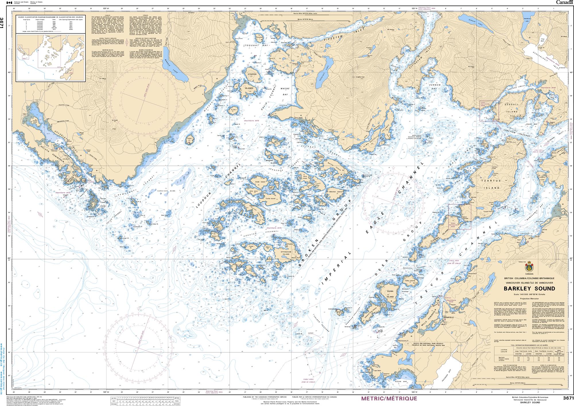 Pacific Region, CHS Chart 3671: Barkley Sound