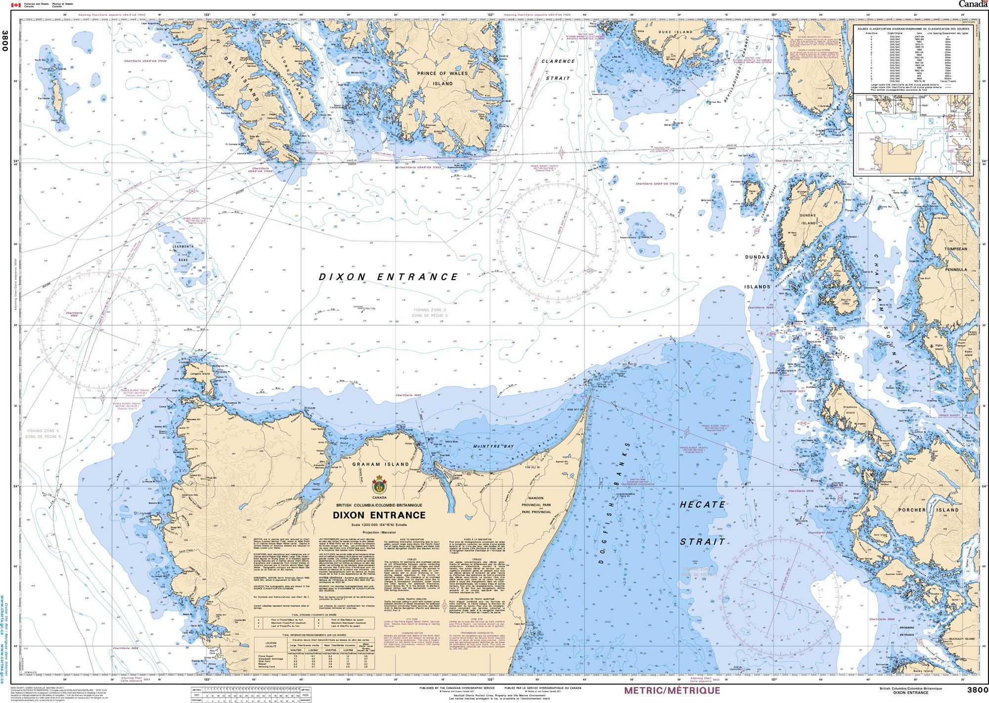 Pacific Region, CHS Chart 3800: Dixon Entrance